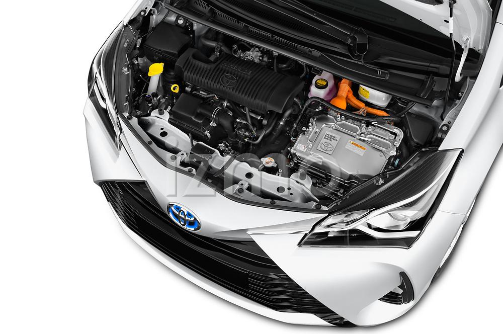 Car stock 2017 Toyota Yaris Comfort 5 Door Hatchback engine high angle detail view
