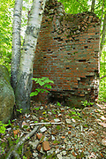 Remnants of the powerhouse at the abandoned logging village in Livermore, New Hampshire. This was a logging town in the late 19th and early 20th centuries, and the village was along the Sawyer River Logging Railroad. The town and railroad were owned by the Saunders family.