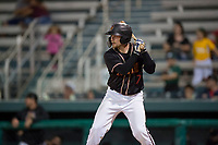 Modesto Nuts catcher Tyler Baker (17) at bat during a California League game against the Lake Elsinore Storm at John Thurman Field on May 11, 2018 in Modesto, California. Modesto defeated Lake Elsinore 3-1. (Zachary Lucy/Four Seam Images)