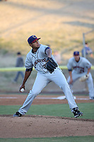 Joshua James (23) of the Lancaster JetHawks pitches against the High Desert Mavericks at Heritage Field on April 23, 2016 in Adelanto, California. High Desert defeated Lancaster, 10-9. (Larry Goren/Four Seam Images)