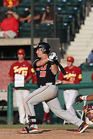 Dylan Davis #10 of the Oregon State Beavers bats against the Southern California Trojans at Dedeaux Field on May 23, 2014 in Los Angeles, California. Southern California defeated Oregon State, 4-2. (Larry Goren/Four Seam Images)