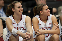 LOS ANGELES, CA - March 11, 2011:  Stanford's Kayla Pedersen (l) and Jeanette Pohlen enjoy late game action during the semi-final game of the 2011 Pac-10 Tournament game against the Arizona Wildcats at Staples Center.  Stanford won, 100-71.
