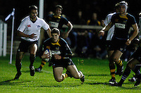 Photo: Richard Lane/Richard Lane Photography. Oxford University v London Wasps A. 18/10/2010. Wasps' Jonah Holmes goes in for a try.