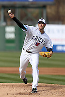 Syracuse Chiefs starting pitcher Mitch Atkins #40 delivers a pitch during the opening game of the International League season against the Rochester Red Wings at Alliance Bank Stadium on April 5, 2012 in Syracuse, New York.  Rochester defeated Syracuse 7-4.  (Mike Janes/Four Seam Images)