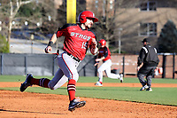 GREENSBORO, NC - FEBRUARY 25: Mike Caruso #19 of Fairfield University races to third base during a game between Fairfield and UNC Greensboro at UNCG Baseball Stadium on February 25, 2020 in Greensboro, North Carolina.