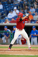 Clearwater Threshers first baseman Darick Hall (21) at bat during a game against the Dunedin Blue Jays on April 6, 2018 at Spectrum Field in Clearwater, Florida.  Clearwater defeated Dunedin 8-0.  (Mike Janes/Four Seam Images)