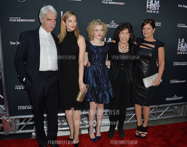 """Sam Elliott, Judy Greer, Julia Garner, Lily Tomlin & Marcia Gay Harden at the premiere of their movie """"Grandma"""", the opening movie of the Los Angeles Film Festival, at the Regal Cinema LA Live.<br /> June 11, 2015  Los Angeles, CA<br /> Picture: Paul Smith / Featureflash"""