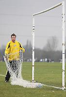 Baris Spor personnell put up the goal nets before kick-off - Baris Spor (white) vs Florist Arms - Hackney & Leyton League at South Marsh, Hackney - 07/02/10 - MANDATORY CREDIT: Gavin Ellis/TGSPHOTO - Self billing applies where appropriate - Tel: 0845 094 6026