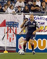 New England Revolution forward Ilica Stojica (9) in the corner. The New England Revolution defeated Houston Dynamo, 1-0, at Gillette Stadium on August 14, 2010.