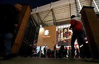 A general view of The Kop entrance as fans arrive at Anfield<br /> <br /> Photographer Rich Linley/CameraSport<br /> <br /> UEFA Champions League Round of 16 Second Leg - Liverpool v Atletico Madrid - Wednesday 11th March 2020 - Anfield - Liverpool<br />  <br /> World Copyright © 2020 CameraSport. All rights reserved. 43 Linden Ave. Countesthorpe. Leicester. England. LE8 5PG - Tel: +44 (0) 116 277 4147 - admin@camerasport.com - www.camerasport.com