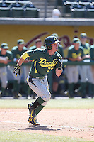 Mitchell Tolman (37) of the Oregon Ducks runs to first base during a game against the Southern California Trojans at Dedeaux Field on April 18, 2015 in Los Angeles, California. Oregon defeated Southern California, 15-4. (Larry Goren/Four Seam Images)