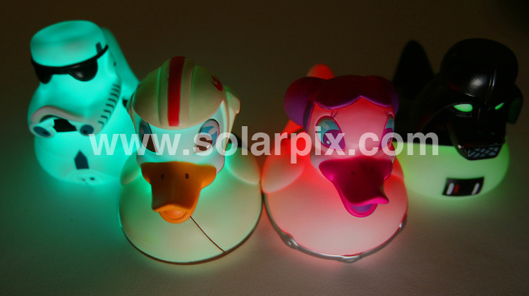 **ALL ROUND PICTURES FROM SOLARPIX.COM**.**NO UK NEWSPAPER PUBLICATION **UK MAGAZINE PUBLICATION ONLY** AND NO PUBLICATION IN FRANCE, SCANDINAVIA, AUSTRALIA AND GERMANY** .Star Wars ducks - May the force be with you in the bath, pond or pool! These glow in the dark ducks are based on characters from the Star Wars Films. The set consists of a Pond Trooper, Duck Fadar, Princess Layer and Luke Pondwalker. Designed by British company Locomocean,  each duck contains LED bulbs in it's sealed unit and lights up in different colours when placed in water...This pic: Star Wars ducks..JOB REF: 5689 SFE       DATE: 04_02_2008.**MUST CREDIT SOLARPIX.COM OR DOUBLE FEE WILL BE CHARGED* *UNDER NO CIRCUMSTANCES IS THIS IMAGE TO BE REPRODUCED FOR ANY ONLINE EDITION WITHOUT PRIOR PERMISSION*
