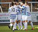 Morton's Peter MacDonald (centre) is congratulated after he scores their second goal.