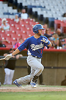 Garrett Kennedy (8) of the Rancho Cucamonga Quakes bats against the High Desert Mavericks at Heritage Field on August 7, 2016 in Adelanto, California. Rancho Cucamonga defeated High Desert, 10-9. (Larry Goren/Four Seam Images)