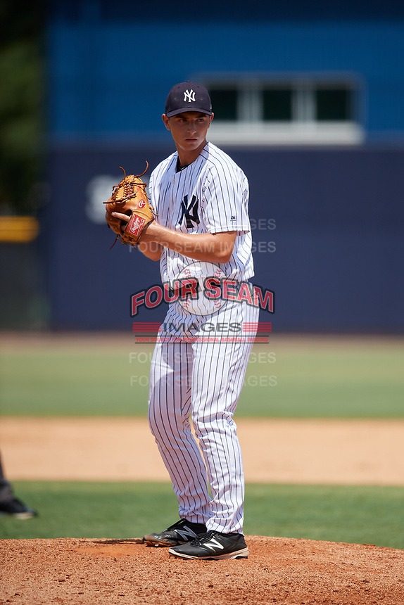 GCL Yankees West relief pitcher Sean Boyle (47) gets ready to deliver a pitch during a game against the GCL Yankees East on August 8, 2018 at Yankee Complex in Tampa, Florida.  GCL Yankees West defeated GCL Yankees East 8-4.  (Mike Janes/Four Seam Images)