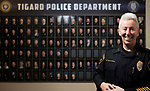 Kathy McAlpine has been Tigard's police chief for one year.<br /> Photo by Jaime Valdez