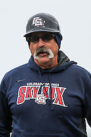 Colorado Springs Sky Sox manager Rick Sweet (16) during a Pacific Coast League game against the Iowa Cubs on May 1st, 2016 at Principal Park in Des Moines, Iowa.  Colorado Springs defeated Iowa 4-3. (Brad Krause/Four Seam Images)