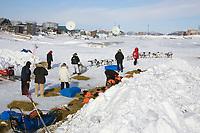Melanie Gould leaves windbreaks of Unalakleet chkpt 2006 Iditarod Western Alaska Winter