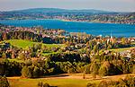 Deutschland, Bayern, Tegernseer Tal, Tegernsee, Bad Wiessee: Blick ueber den Kurort mit der Kirche Maria Himmelfahrt   Germany, Bavaria, Tegernsee Valley, Bad Wiessee: health resort with church Mary Ascension