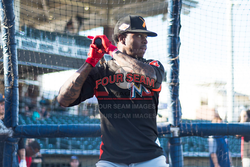 AFL East outfielder Monte Harrison (4), of the Salt River Rafters and the Miami Marlins organization, during batting practice before the Arizona Fall League Fall Stars game at Surprise Stadium on November 3, 2018 in Surprise, Arizona. The AFL West defeated the AFL East 7-6 . (Zachary Lucy/Four Seam Images)