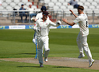 27th May 2021; Emirates Old Trafford, Manchester, Lancashire, England; County Championship Cricket, Lancashire versus Yorkshire, Day 1; Dane Vilas celebrates with Tom Bailey after he runs out Harry Brookof Yorkshire to leave Yorkshire on 9-3