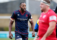 Tjiuee Uanivi of London Scottish prepares to scrum down during the Greene King IPA Championship match between London Scottish Football Club and Jersey at Richmond Athletic Ground, Richmond, United Kingdom on 16 December 2017. Photo by Mark Kerton / PRiME Media Images.