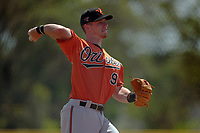Baltimore Orioles Patrick Dorrian (90) throws to first base during a Minor League Spring Training game against the Pittsburgh Pirates on April 21, 2021 at Pirate City in Bradenton, Florida.  (Mike Janes/Four Seam Images)