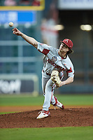 Arkansas Razorbacks relief pitcher Jacob Burton (21) delivers a pitch to the plate against the Texas Longhorns in game six of the 2020 Shriners Hospitals for Children College Classic at Minute Maid Park on February 28, 2020 in Houston, Texas. The Longhorns defeated the Razorbacks 8-7. (Brian Westerholt/Four Seam Images)