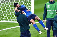 6th July 2021; Wembley Stadium, London, England; Euro 2020 Football Championships semi-final, Italy versus Spain;  Lorenzo Insigne celebrates the win