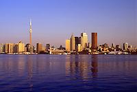 Toronto, Canada, Ontario, Lake Ontario, Skyline of downtown Toronto from Toronto Inner Harbor on Lake Ontario.
