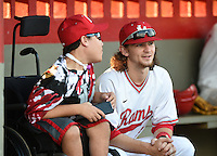 Lake Mary Rams shortstop Brendan Rodgers (3) talks with honorary team captain Nick Hamel before a game against the Lake Brantley Patriots on April 2, 2015 at Allen Tuttle Field in Lake Mary, Florida.  Lake Brantley defeated Lake Mary 10-5.  (Mike Janes/Four Seam Images)