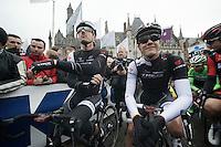 Fabian Cancellara (CHE/TrekFactoryRacing) next to teammate (& neo-pro) Jasper Stuyven (BEL/Trek Factory Racing) at the start in Bruges<br /> <br /> Ronde van Vlaanderen 2014