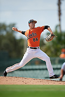 Baltimore Orioles pitcher Ryan Conroy (86) delivers a pitch during a Florida Instructional League game against the Pittsburgh Pirates on September 22, 2018 at Ed Smith Stadium in Sarasota, Florida.  (Mike Janes/Four Seam Images)