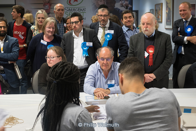 Labour and Conservative candidates and scrutineers, Golders Green ward.  London Borough of Barnet local election count.