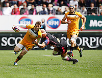 Photo: Richard Lane/Richard Lane Photography. Stade Francais v London Wasps. European Rugby Champions Cup Play-Off. 24/05/2014. Wasps' Elliot Daly attacks.