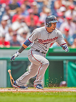 9 June 2013: Minnesota Twins infielder Eduardo Escobar in action against the Washington Nationals at Nationals Park in Washington, DC. The Nationals shut out the Twins 7-0 in the first game of their day/night double-header. Mandatory Credit: Ed Wolfstein Photo *** RAW (NEF) Image File Available ***