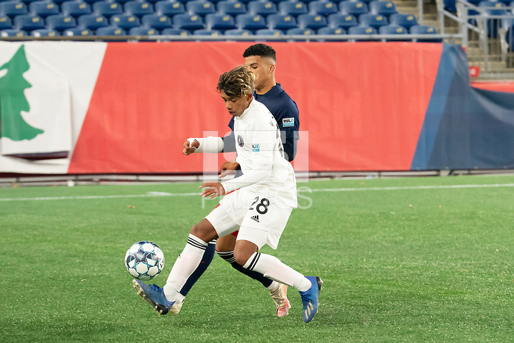FOXBOROUGH, MA - OCTOBER 09: Felipe Valencia #28 of Fort Lauderdale CF controls the ball near the sideline during a game between Fort Lauderdale CF and New England Revolution II at Gillette Stadium on October 09, 2020 in Foxborough, Massachusetts.