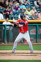 Daniel Paolini (8) of the Tacoma Rainiers at bat against the Salt Lake Bees in Pacific Coast League action at Smith's Ballpark on September 2, 2015 in Salt Lake City, Utah. Tacoma defeated Salt Lake 13-6.  (Stephen Smith/Four Seam Images)