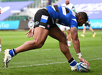 21st November 2020; Recreation Ground, Bath, Somerset, England; English Premiership Rugby, Bath versus Newcastle Falcons; Joe Cokanasiga of Bath crosses the line to score the first try of the match