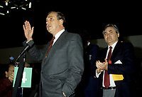 Ed Broadbent, Leader (L) and<br /> Michel Agnieff, Associate President (R) of the New Democratic Party - Nouveau Parti Démocratique (NDP-NPD) at the March 1986 convention in Montreal.<br /> <br /> photo (c)  Images Distribution