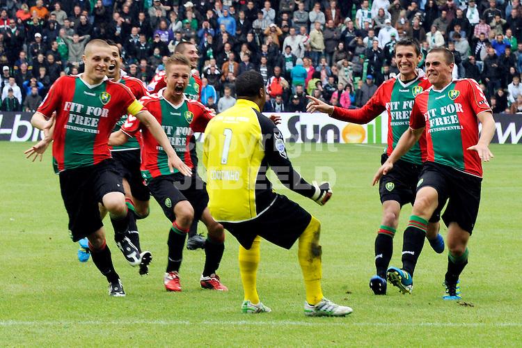 GRONINGEN - voetbal , FC Groningen - ADO Den Haag , Play off  Eredivisie , stadion Euroborg , seizoen 2010-2011 , 29-05-2011 , ADO Den Haag viert het behalen van Europees voetbal. ANP PRO SHOTS