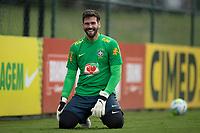10th November 2020; Granja Comary, Teresopolis, Rio de Janeiro, Brazil; Qatar 2022 qualifiers; Alisson of Brazil during training session in Granja Comary