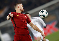 Football Soccer: UEFA Champions League AS Roma vs Qarabag FK Stadio Olimpico Rome, Italy, December 5, 2017. <br /> Roma's Edin Dzeko in action during the Uefa Champions League football soccer match between AS Roma and Qarabag FK at at Rome's Olympic stadium, December 05, 2017.<br /> UPDATE IMAGES PRESS/Isabella Bonotto