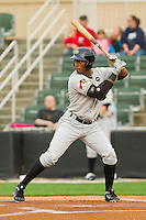 Mel Rojas Jr. #24 of the West Virginia Power at bat against the Kannapolis Intimidators at Fieldcrest Cannon Stadium on April 21, 2011 in Kannapolis, North Carolina.   Photo by Brian Westerholt / Four Seam Images
