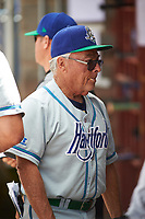 Hartford Yard Goats manager Jerry Weinstein (1) in the dugout during a game against the Binghamton Rumble Ponies on July 9, 2017 at NYSEG Stadium in Binghamton, New York.  Hartford defeated Binghamton 7-3.  (Mike Janes/Four Seam Images)