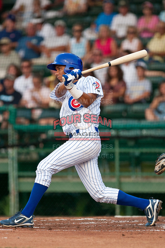 Shortstop Rafael Valdes #24 of the Daytona Cubs makes a play during a game against the Lakeland Flying Tigers at Jackie Robinson Ballpark on June 21, 2011 in Daytona Beach, Florida. (Scott Jontes / Four Seam Images)