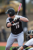 Bryant Bulldogs pinch-hitter Zane Smith (19) at bat against the Coastal Carolina Chanticleers at Springs Brooks Stadium on March 13, 2015 in Charlotte, North Carolina.  The Chanticleers defeated the Bulldogs 7-2.  (Brian Westerholt/Four Seam Images)