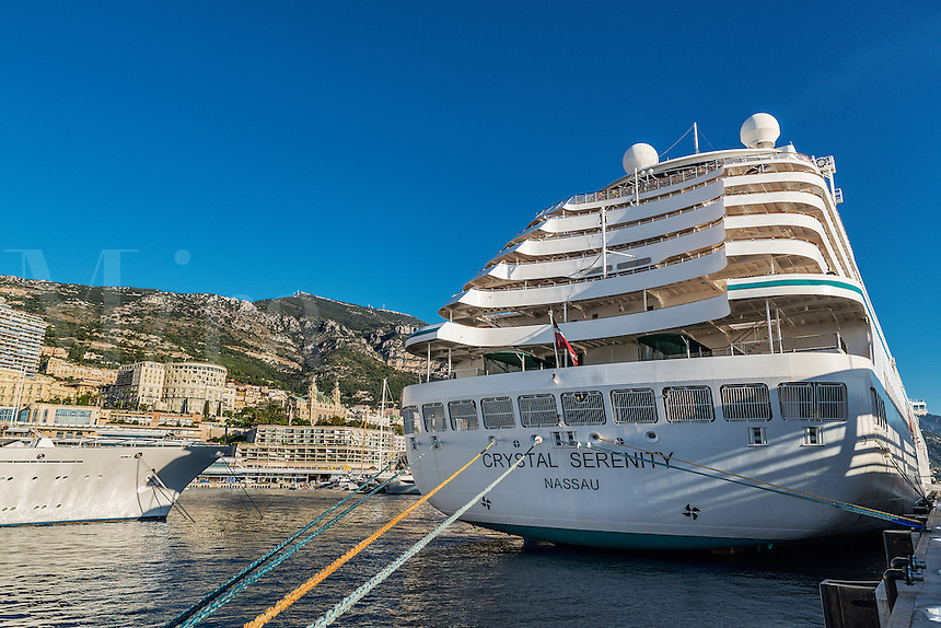 Crystal Serenity cruise ship in port Monte Carlo, Monaco