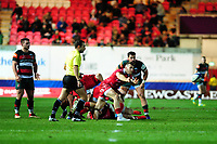 Gareth Davies of Scarlets in action during the Heineken Champions Cup round 5 match between the Scarlets and Leicester Tigers at the Parc Y Scarlets Stadium in Llanelli, Wales, UK. Saturday 12th January 2019