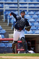 Binghamton Mets catcher Colton Plaia (26) throws to first during a game against the Richmond Flying Squirrels on June 26, 2016 at NYSEG Stadium in Binghamton, New York.  Binghamton defeated Richmond 7-2.  (Mike Janes/Four Seam Images)